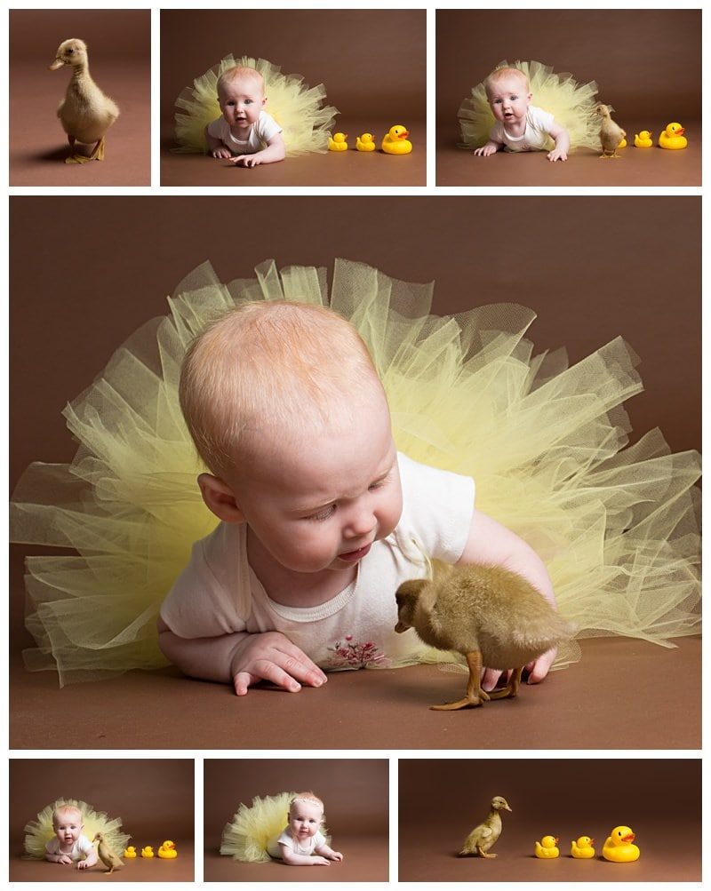 baby girl with a baby duck
