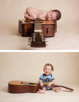 baby on an acoustic guitar