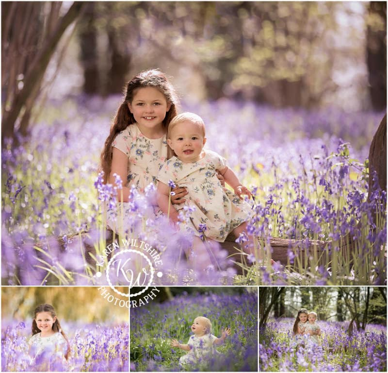 Young girls in Bluebell woods