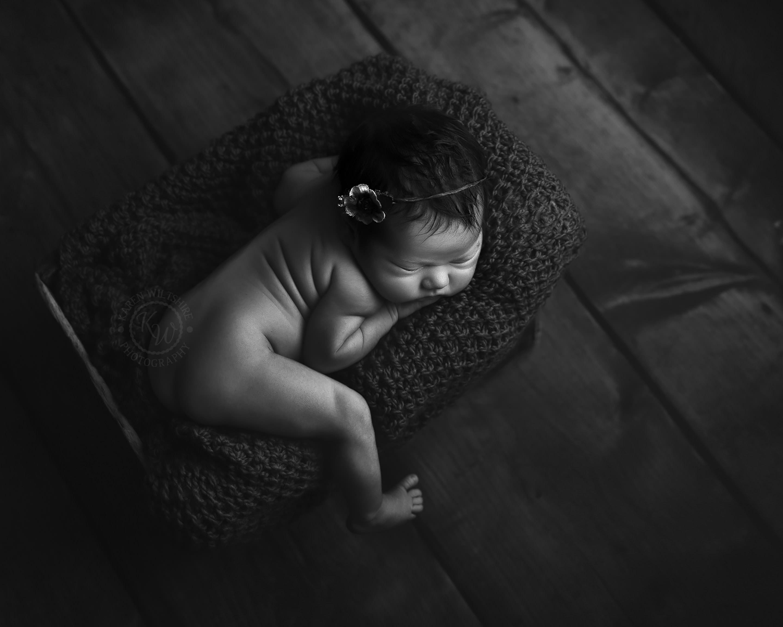Black and White newborn baby photo