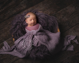 Newborn baby girl wrapped in mauve and purple