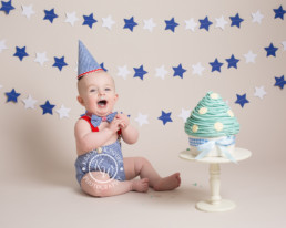 First birthday cake smash with blue stars