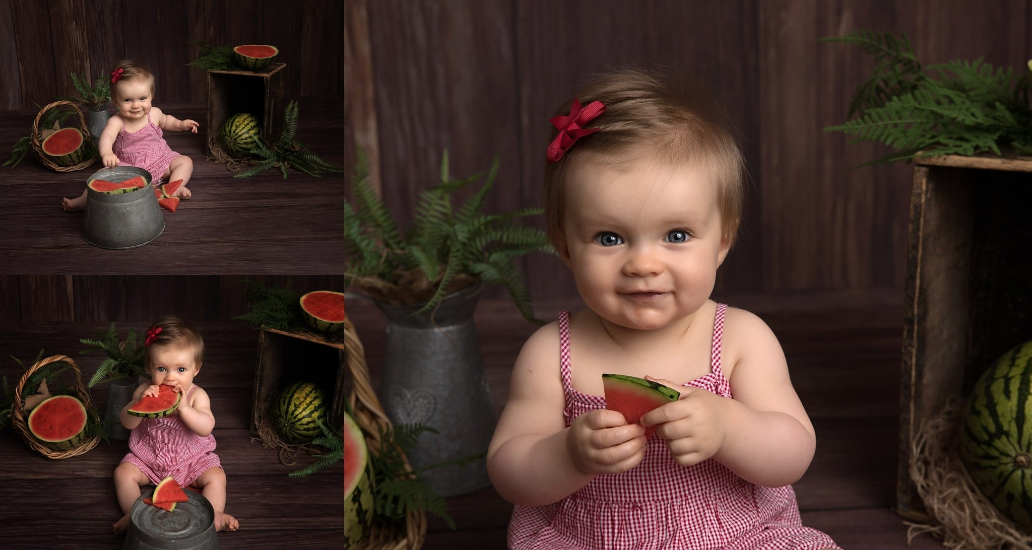 Smiling baby girl eating watermelon slices