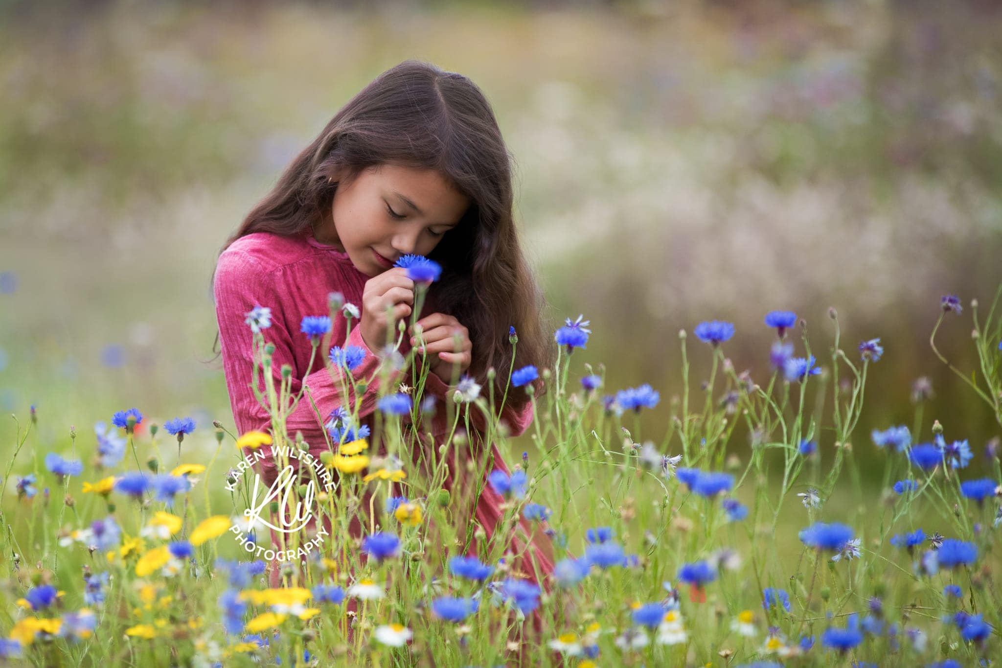 Young girl smelling wildflowers in Dorset meadow